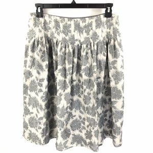 Liz Claiborne Silk Skirt Womens Sz 10 Gray Floral